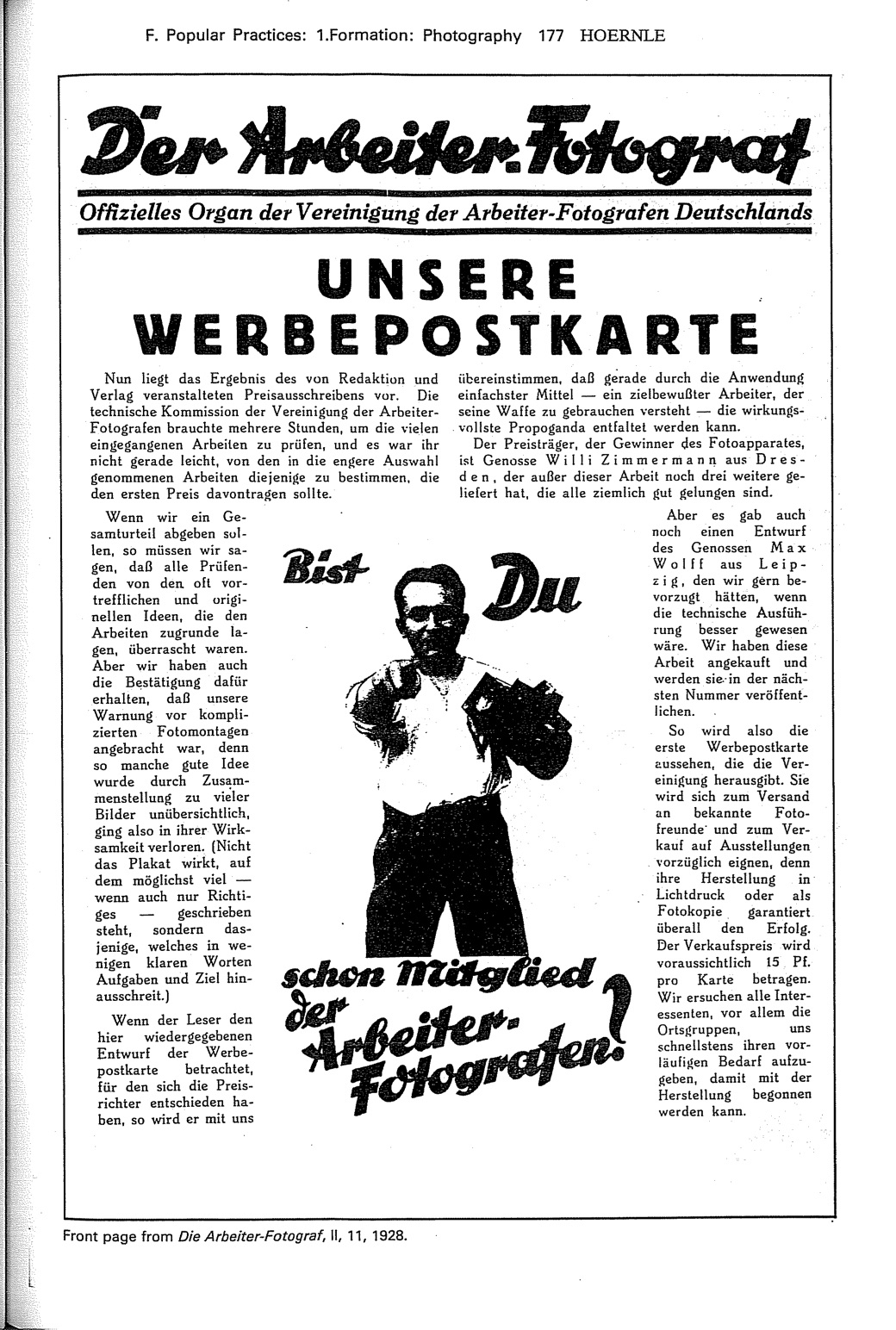 Front page from Die Arbeiter-Fotograf, 11, 11, 1928.
